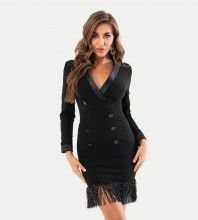 Black Distinctive Tassels Mini Long Sleeve V Neck Bodycon Dress HT2425-Black