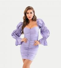 Purple Frill Wrinkled Mini Long Sleeve Square Collar Bodycon Dress HT2433-Purple