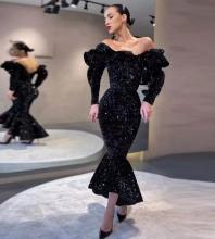 Black Frill Fishtail Maxi Long Sleeve Off Shoulder Bodycon Dress HT2443-Black