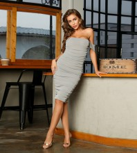 Gray Distinctive Wrinkled Midi Short Sleeve Off Shoulder Bodycon Dress HT2454-Gray