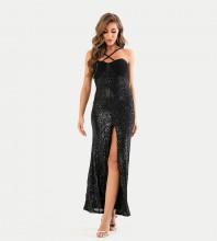 Black Slit Sequined Maxi Sleeveless Strappy Bodycon Dress HT2457-Black