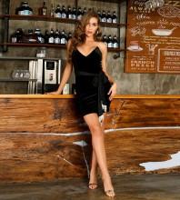 Black Tassels With Belt Mini Sleeveless Strapless Bodycon Dress HT2459-Black