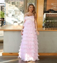Pink Distinctive Frill Maxi Sleeveless Strappy Bodycon Dress HT2476-Pink