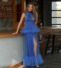 Blue Frill Mesh Maxi Sleeveless High Neck Bodycon Dress HT2487-Blue