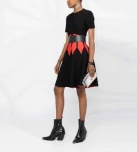 Black Patterned Girdle Midi Short Sleeve Round Neck Bodycon Dress HT2489-Black