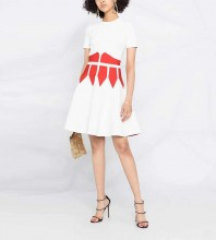 White Patterned Girdle Midi Short Sleeve Round Neck Bodycon Dress HT2489-White