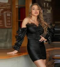 Black Frill Wrinkled Mini Long Sleeve Off Shoulder Bodycon Dress HT2490-Black