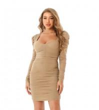 Nude Distinctive Wrinkled Mini Long Sleeve Square Collar Bodycon Dress HT2494-Nude