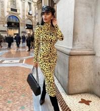 Yellow Leopard Girdle Midi Long Sleeve High Neck Bodycon Dress HT2496-Yellow