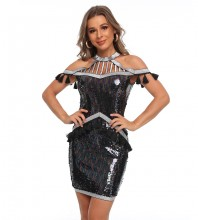 Black Hollow out Sequined Mini Short Sleeve High Neck Bodycon Dress HT2506-Black