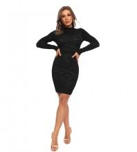 Black Decorative Pattern Midi Long Sleeve High Neck Bodycon Dress HT2509-Black