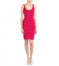 Rose Plain Striped Midi Sleeveless Strappy Bodycon Dress HT2513-Rose