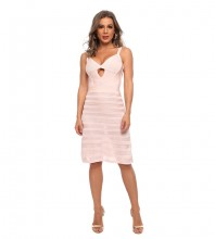 Pink Striped Cut Out Midi Sleeveless Strappy Bodycon Dress HT2516-Pink