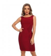 Wine Striped Midi Sleeveless Round Neck Bodycon Dress HT2517-Wine