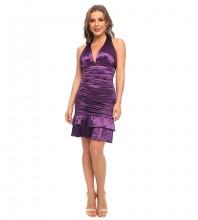 Purple Wrinkled Frill Mini Sleeveless Halter Bodycon Dress HT2519-Purple
