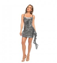Silver Sequined Frill Mini Sleeveless Strappy Bodycon Dress HT2520-Silver