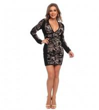 Black Distinctive Sequined Mini Long Sleeve V Neck Bandage Dress HT2524-Black