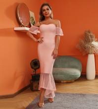 Pink Mesh Fishtail Maxi Short Sleeve Off Shoulder Bandage Dress HT2539-Pink