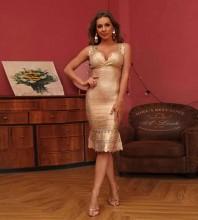 Gold Cut Out Fishtail Midi Sleeveless Strappy Bandage Dress HT2541-Gold