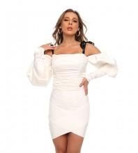 White Tie Wrinkled Long Sleeve Strappy Bandage Set HT2544-White