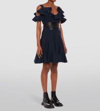 Black Plain Frill Mini Short Sleeve Strappy Bodycon Dress HT2547-Black