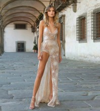 Nude Striped Sequined Maxi Sleeveless Strappy Bodycon Dress HT2556-Nude