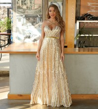 Gold Backless Sequined Maxi Sleeveless Strappy Bodycon Dress HT2557-Gold
