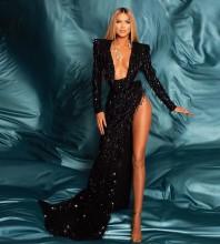 Black Mesh Sequined Maxi Long Sleeve V Neck Bodycon Dress HT2561-Black
