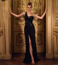 Black Slit Asymmetrical Maxi Sleeveless One Shoulder Bodycon Dress HT2567-Black