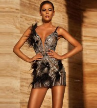 Silver Feather Sequined Mini Sleeveless Strappy Bodycon Dress HT2582-Silver