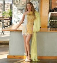 Gold Frill Tassels Mini Sleeveless One Shoulder Bodycon Dress HT2584-Gold