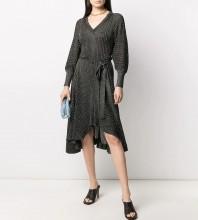 Black Striped Tie Midi Long Sleeve V Neck Bodycon Dress HT2609-Black