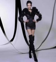 Black Tie Tulle Mini Long Sleeve V Neck Bodycon Dress HT2612-Black
