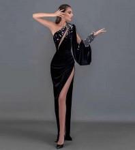 Black Cut Out Asymmetrical Maxi Long Sleeve One Shoulder Bodycon Dress HT2616-Black