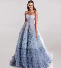 Blue Flouncy Mesh Maxi Sleeveless Strapless Bodycon Dress HT2627-Blue