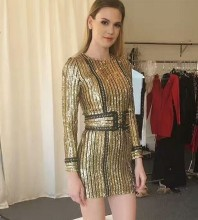 Gold Round Neck Long Sleeve One Piece Metal Sequins Waistband Quality Bodycon Dress HW218-Gold