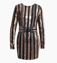Rose Gold Round Neck Long Sleeve Above Knee Sequined Bling Club Bodycon Dress HW238-Rose Gold