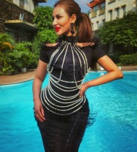 Black High Neck Short Sleeve Mini Fringe Decorated Feathered Fashion Bodycon Dress HW242-Black
