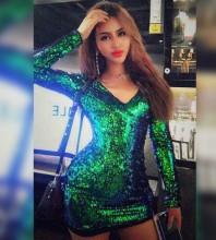 Green V Neck Long Sleeve Mini Sequined Plain Shinning Bodycon Dress HW246-Green