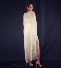White Round Neck Long Sleeve Maxi Sequins Mesh Fashion Poncho HW286-White