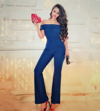 Off Shoulder Short Sleeve High Quality Bodycon Jumpsuits HW293-Blue