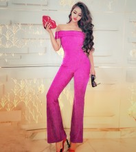 Off Shoulder Short Sleeve High Quality Bodycon Jumpsuits HW293-Rose