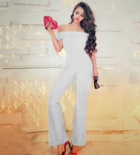 Off Shoulder Short Sleeve High Quality Bodycon Jumpsuits HW293-White