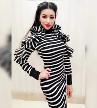 Black High Neck Long Sleeve Maxi Stripe Fashion Bodycon Dress HW297-Black