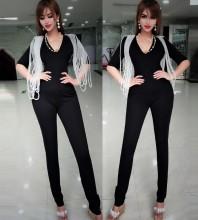 Black V Neck Mid Sleeve One Piece Beaded Fashion Bodycon Jumpsuits HW298-Black