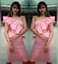 Pink One Shoulder Sleeveless Mini Wavy Decoration Sexy Bodycon Dress HW300-Pink