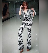 Black V Neck 3/4 Sleeve Maxi Printing Fashion Bodycon Jumpsuit HW302-Black