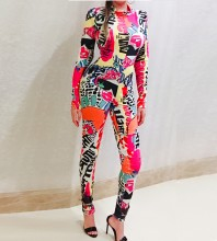 Multicolor Halter Long Sleeve Maxi Printed Flowers African Bodycon Jumpsuit HW311-Multicolor