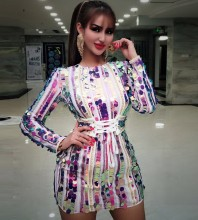 Colorful Round Neck Long Sleeve Mini Whole Sequined Shinning Bodycon Dress HW314-Colorful