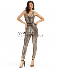Gold V Neck Sleeveless Maxi Sequined Shinning High Quality Bandage Jumpsuit HX1005-Gold